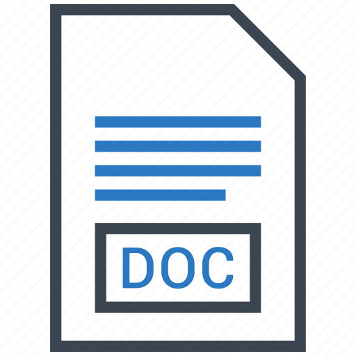 doc, extention, file, type icon