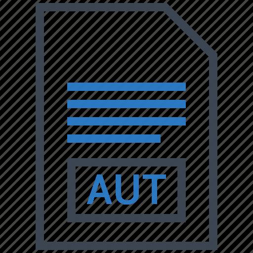aut, extention, file, type icon
