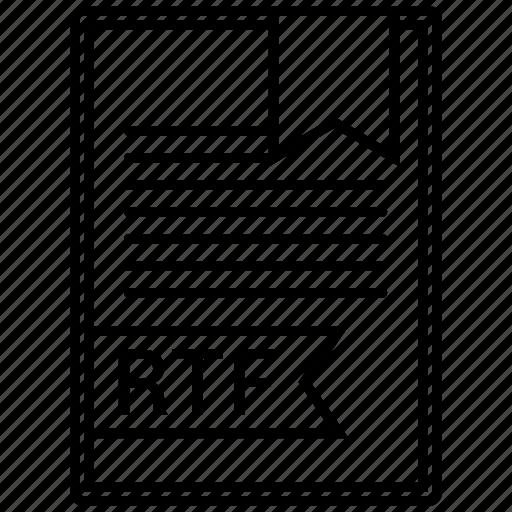 document, extension, folder, paper, rtf, type icon
