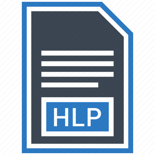 document, extension, file, format, hlp, type icon