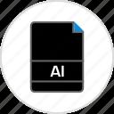 ai illustrator, extension, file, name icon