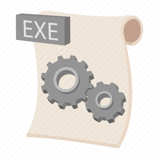 cartoon, document, exe, file, format, sign, type icon