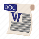 cartoon, doc, document, file, format, sign, type icon