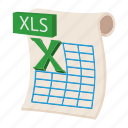 cartoon, doc, document, file, page, web, xls icon