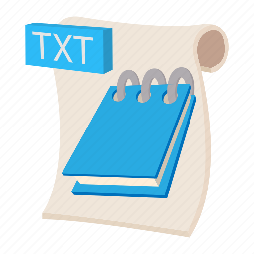 cartoon, document, file, format, sign, txt, type icon