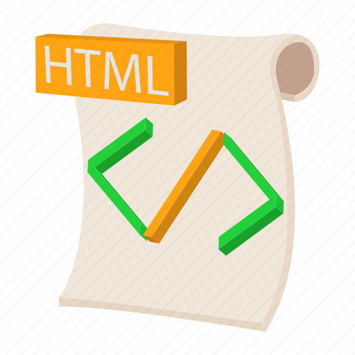 cartoon, document, file, format, html, sign, type icon