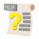 cartoon, document, file, format, hlp, sign, type icon