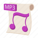 audio, cartoon, file, mp3, music, sign, web icon