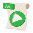 audio, avi, cartoon, file, music, sign, web icon