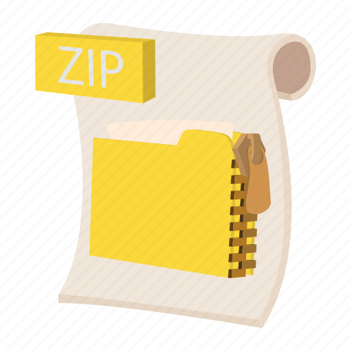 archive, cartoon, object, page, sign, web, zip icon