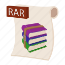 archive, cartoon, object, page, rar, sign, web icon