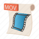 cartoon, document, file, format, mov, sign, type icon