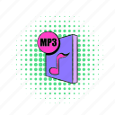 audio, comics, file, format, internet, mp3, music icon