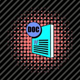 comics, doc, document, file, format, print, type icon