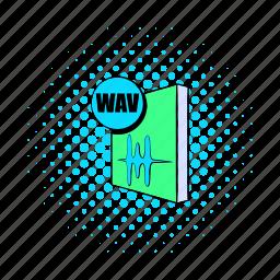 audio, comics, file, format, music, sheet, wav icon