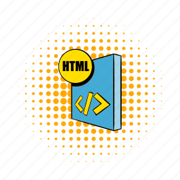 comics, document, file, format, html, hypertext, markup icon