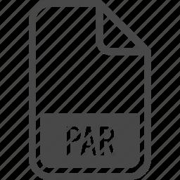 document, file, format, par, type icon