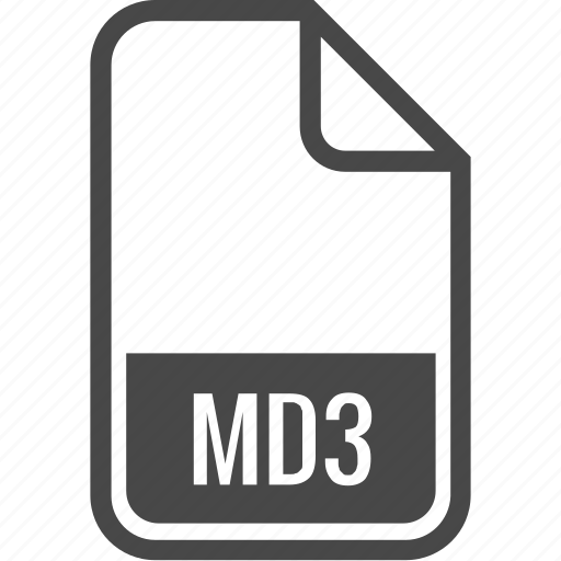 document, file, format, md3, type icon