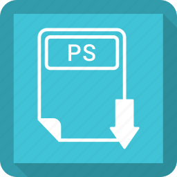 document, extension, file, format, paper, ps, type icon