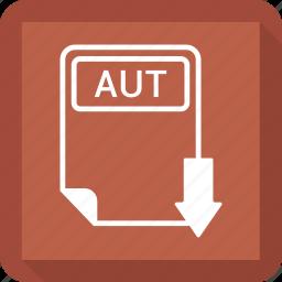 aut, document, extension, file, format, paper, type icon