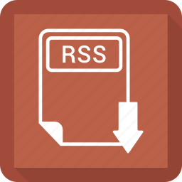 document, extension, file, format, paper, rss, type icon