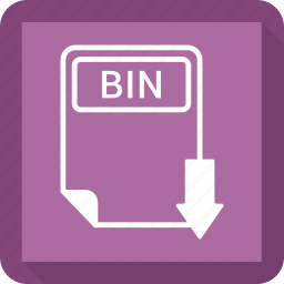 bin, document, extension, file, format, paper, type icon