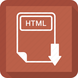 document, extension, file, format, html, paper, type icon