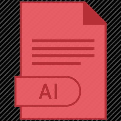 ai, document, extension, folder, format, paper icon