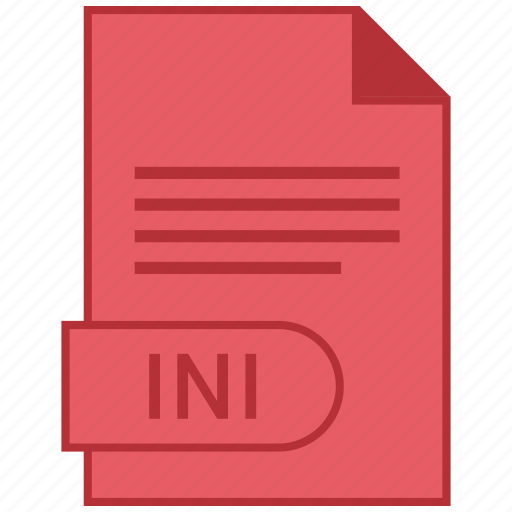 document, extension, folder, format, ini, paper icon