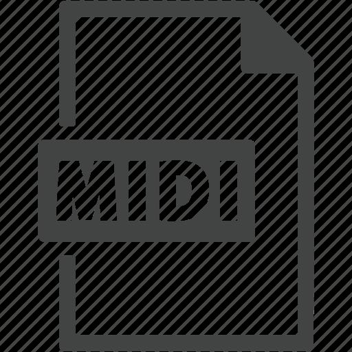 document, extension, file, format, midi icon