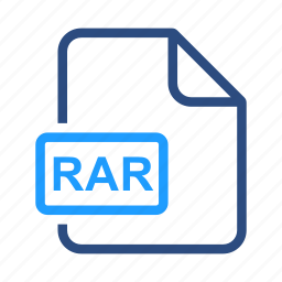 document, extension, file, rar icon