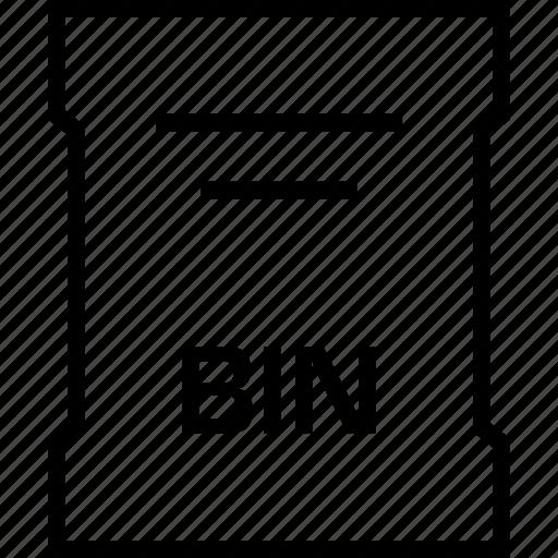 bin, extension, file, name icon