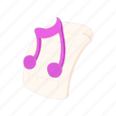 audio, cartoon, file, mp3, music, note icon