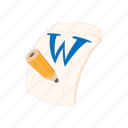 cartoon, doc, document, file, format, w, word icon