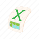 cartoon, doc, document, file, page, x, xls icon