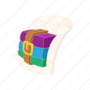 archive, book, cartoon, document, download, page, rar icon