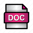 doc, doc file, extension, file, format, type, word file icon