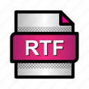 extension, file, format, rtf, rtf file, text, type icon