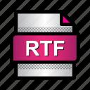 extension, file, format, rtf, rtf file, text, type icon