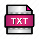 extension, file, format, plain text, text file, txt, type icon