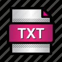 extension, file, format, plain text, text file, txt, type icon