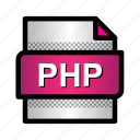 extension, file, format, php, php document, type icon