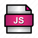 extension, file, format, javascript, js, type icon