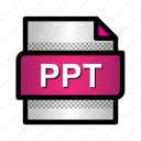 extension, file, format, microsoft powerpoint, ppt, type icon