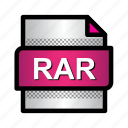 compression, extension, file, format, rar, rar archive, type icon