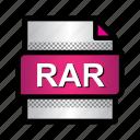 compression, extension, file, format, rar, rar archive, type icon
