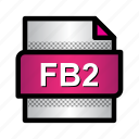 ebook, extension, fb2, fb2 book, file, format, type icon