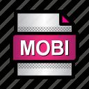 amazon kindle, book, extension, file, format, mobi, type icon