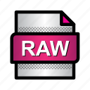 extension, file, format, raw image, raw photo, type icon