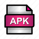 android, apk, extension, file, format, type icon